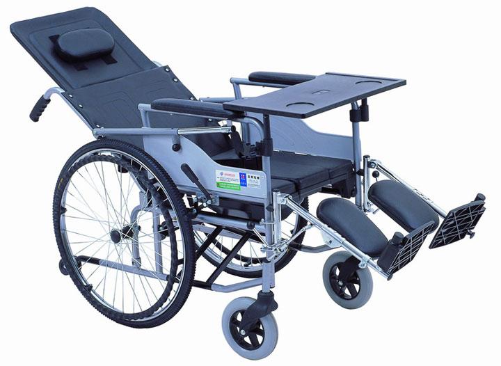 上海互邦轮椅车HBG6-B 钢管型高靠背座便轮椅