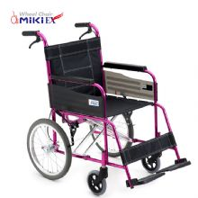 Miki 三贵轮椅车MC-43K 粉色车架免充气胎 折叠轻便 铝合金 老人代步车