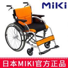 Miki 三贵轮椅车MCS-43JL型 橙色 W3免充气 轻便折叠 老人残疾人手推代步车