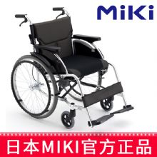 Miki 三贵轮椅车MCS-43JL型 黑色免充气 轻便折叠 老人残疾人手推代步车