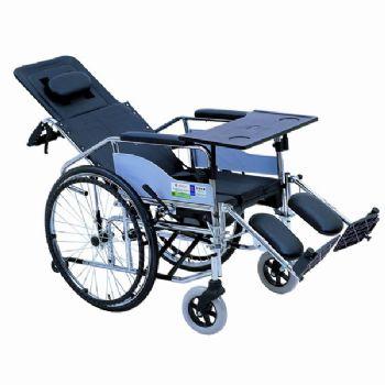 上海互邦轮椅车HBG5-BFQ型 可全躺高靠背、带餐桌及便桶