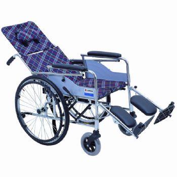 上海互邦轮椅车HBG9-Y型 沉降式硬座垫、可半躺高靠背