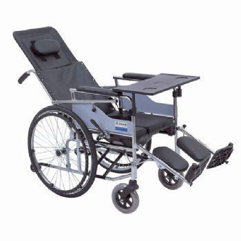 上海互邦轮椅车HBG19-B型 可半躺高靠背、带餐桌及便桶