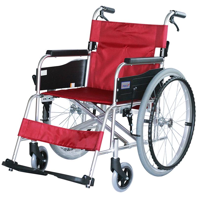 Miki 三贵轮椅车MPT-43JL型 航太铝合金车架 红色