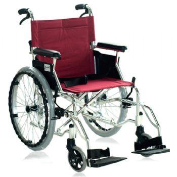 上海互邦轮椅车HBL35-SJZ20 靠背可折翻 20寸后轮 可翻起挂脚 带后手刹 红色