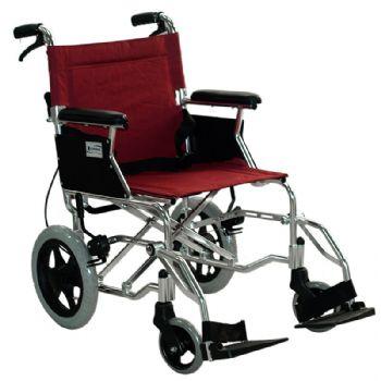 上海互邦轮椅车HBL35-SJZ12型 靠背可折翻 12寸后轮 可翻起挂脚 带后手刹 红色