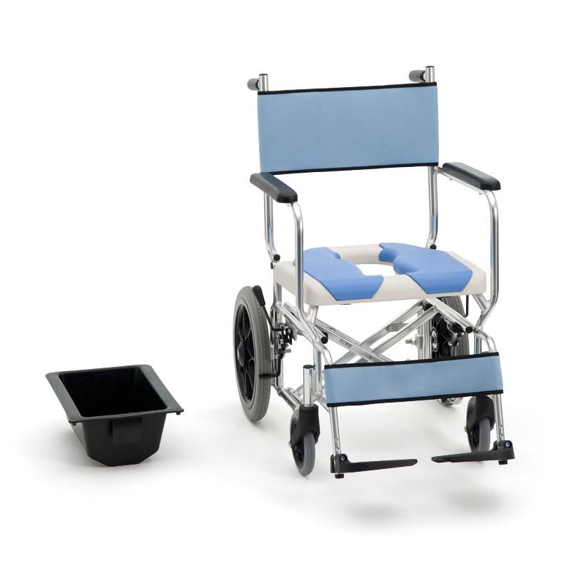 Miki 三贵轮椅车MOCC-43 坐便洗澡椅(防水黑色后轮)