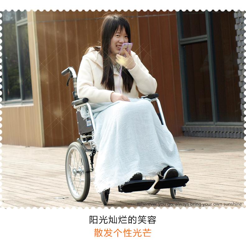 日本三贵MIKI轮椅车 MOCC-43JL免充气胎 折叠轻便 老人手推代步车