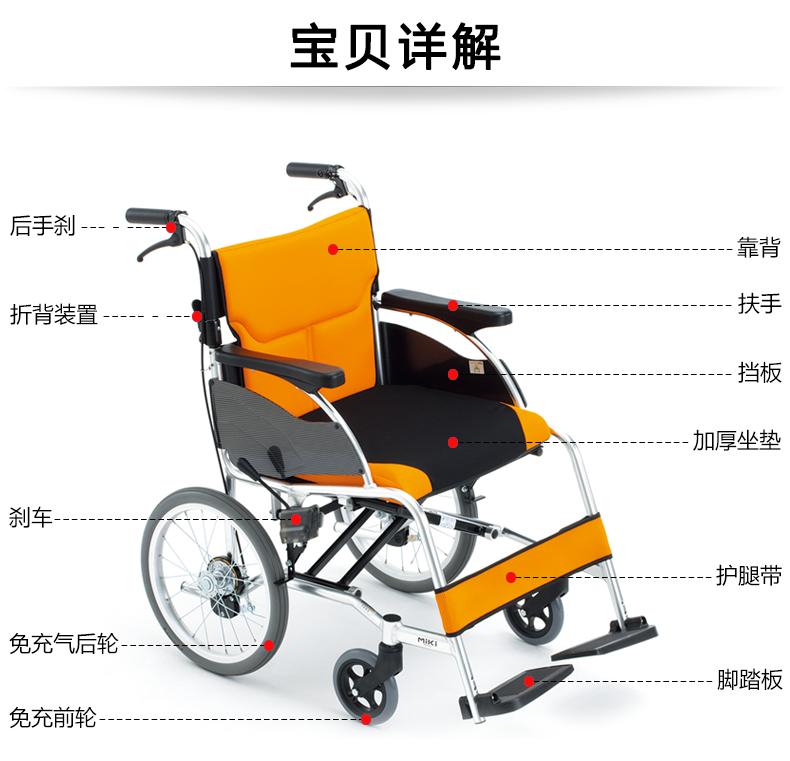MIKI日本三貴手動輪椅車MCSC-43JL 輕便折疊 家用老人殘疾人輪椅