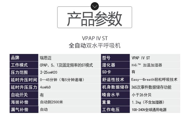 瑞思迈呼吸机VPAP IV ST 全自动双水平 有效治疗慢阻肺/肺心病/呼吸功能不全  产品参数